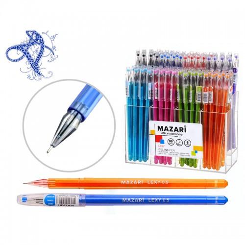 Ручка гелев. LEXY АССОРТИ 8 цв. 0,5мм иг.нак. кристалл, пластик.диспл. арт.M-5507-J (96/576шт)