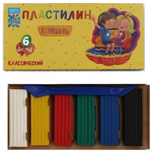 Пластилин АТТРАКЦИОНЫ набор  6цв со стеком 120г арт.ПЛ-К6-120 (1/30наб)