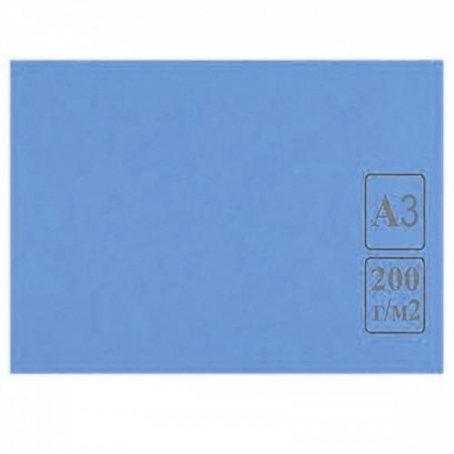 Картон цветной А3 СИНИЙ тонированный 200г/м2 арт.КЦ А3син. (50шт)