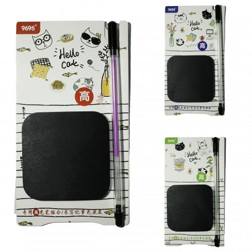Блок c липк.слоем (70*70мм) ДЕНЬ КОТА набор(50л черн.бум.+ручка с цв.черн) арт.М-1098 (1/40/400наб)