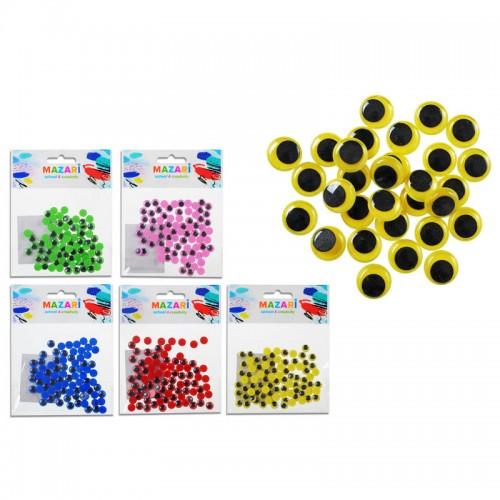 Глазки декоративные ПОДВИЖНЫЕ цветные набор d=8мм 80шт арт.М-4325 (1/480шт)