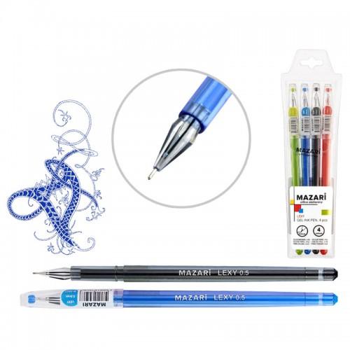 Ручка гелев. набор LEXY 4цв. иг.нак. в форме кристалла арт.M-5507-4 (1/108наб)