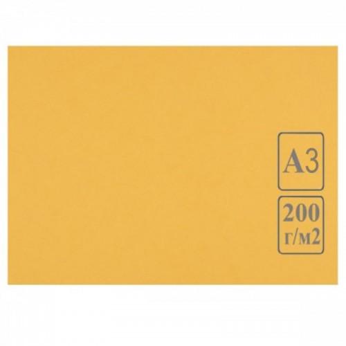 Картон цветной А3 ЖЕЛТЫЙ тонированный 200г/м2 арт.КЦ А3жел. (50шт)