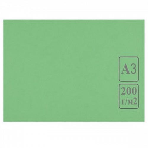 Картон цветной А3 ЗЕЛЕНЫЙ тонированный 200г/м2 арт.КЦ А3зел. (50шт)