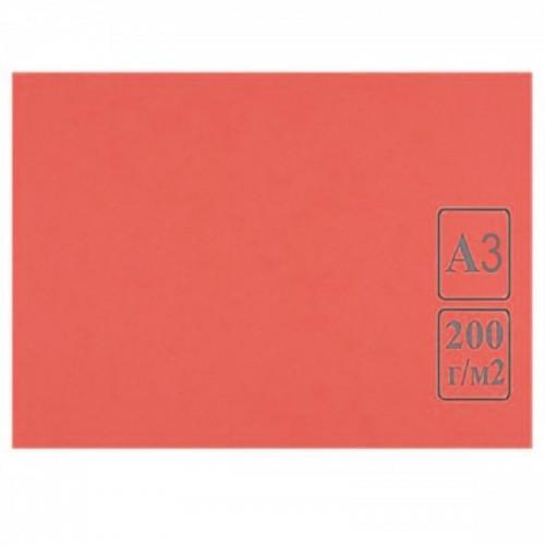 Картон цветной А3 КРАСНЫЙ тонированный 200г/м2 арт.КЦ А3роз. (50шт)