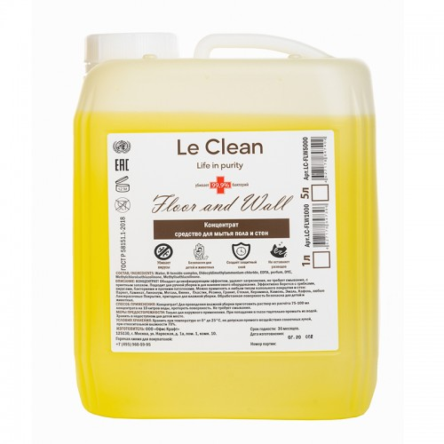 Антисептик д/обр.пов.Le Clean FLOOR AND WALL  5000ml концентрат арт.LC-FLW5000