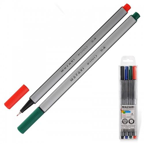 Ручка капиллярная FINO трехгр. 0,4мм 4цв. набор арт.М-5300-4 (1/72/288наб)