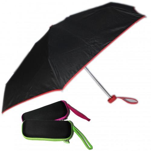 Зонт ЧЕРНЫЙ mini с цв.окантовкой ассорти, в футляре арт.0338А