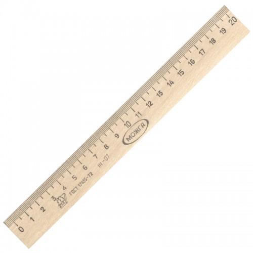 Линейка деревянная 20см штрихкод арт.С 05/ШК (50/1800шт)