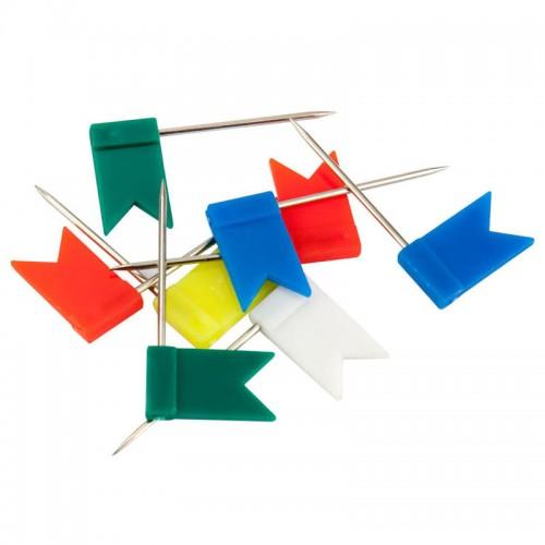 Кнопки силовые AXENT цветные флажки 50шт пласт.конт. арт.4215-А