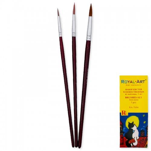 Кисти набор НЕЙЛОН круглые 3шт ROYAL ART арт.RA7686 (1/720наб)
