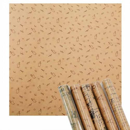 Бумага подарочная 52*76см KRAFT арт.1248 (1/20/600рул..)