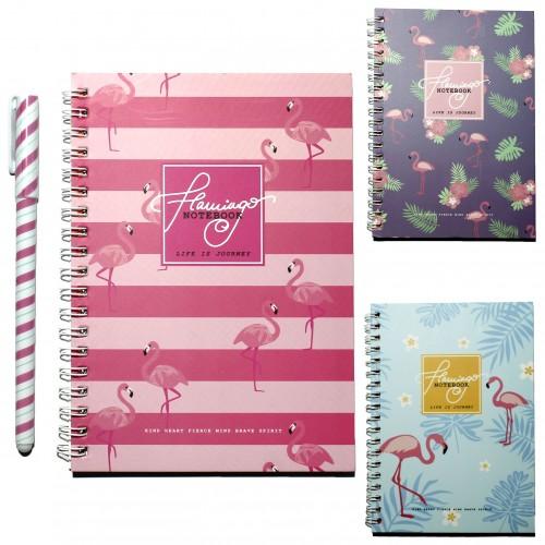 Блокнот 38л + ручка ФЛАМИНГО в подар.коробке арт.DY616 (1/240шт)