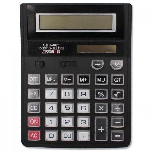 Калькулятор 12 разр. прозр. нестир.кнопки 15*19см арт.SDC-883 (1/30/90шт)