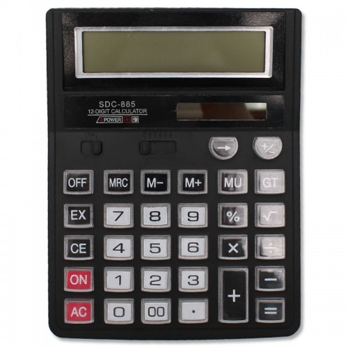 Калькулятор 12 разр. 15*19.5см прозр. нестир.кнопки арт.SDC-885(1/30/90шт)
