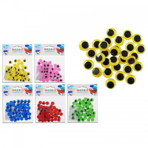 Глазки декоративные ПОДВИЖНЫЕ цветные набор d=12мм 50шт арт.М-4327 (1/480шт)