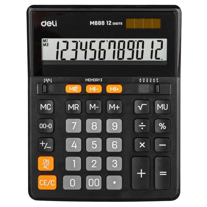 Калькулятор 12 разр,Deli черн. арт.EM888 (1/60шт)