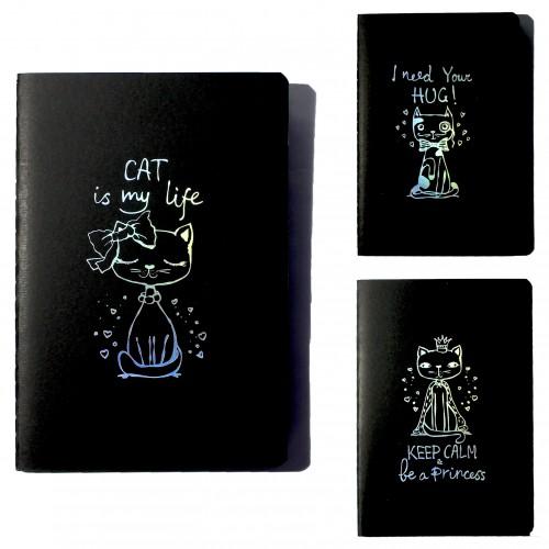 Блокнот А5 24л CAT IS MY LIFE черный внутр.блок 4диз. 120г/м2 арт.1002 (1/16/384шт)