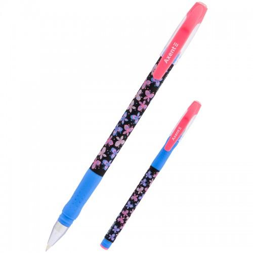 Ручка шар. BUTTERFLIES-1 СИНЯЯ 0,5мм арт.AB1049-17-A (24/432шт)