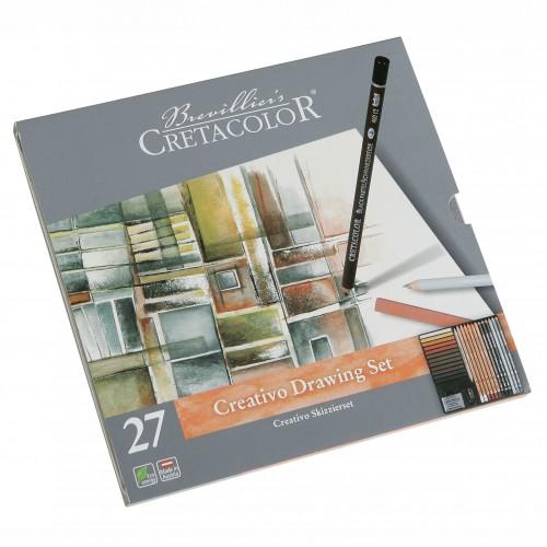 Базовый набор для рисов. CREATIVO (12кар.точилка,12мел,растуш.) арт. CC400 31