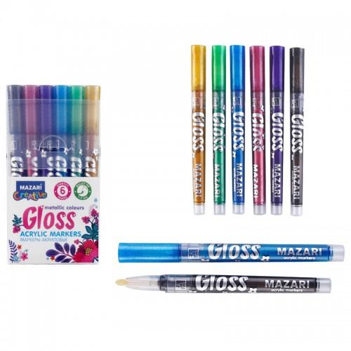 Маркер-краска GLOSS металлик 6цв пулевидн.нак.1,0-2,0мм арт.М-15076-6 (1/12/192наб)