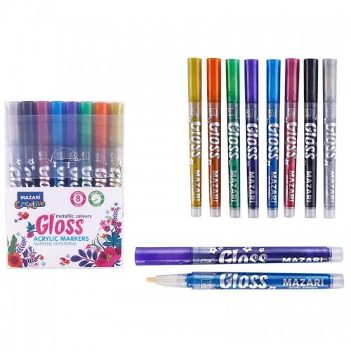 Маркер-краска GLOSS металлик 8цв пулевидн.нак.1,0-2,0мм арт.М-15076-8 (1/9/144наб)