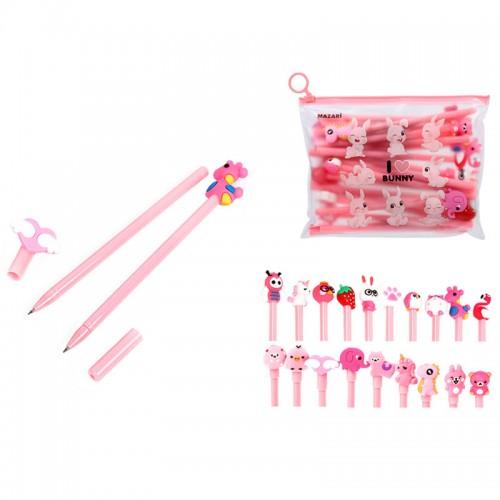 Ручка шар. CARTOON pink СИНЯЯ 0,7мм корп.розовый наб.20шт арт.M-5412-70 (1/72/144наб)