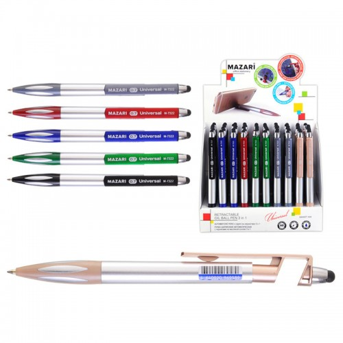 Ручка шар. авт. 3 в 1 UNIVERSAL СИНЯЯ (ручка+подст.д/тел.+стилус) арт.М-7322 (60/360шт)