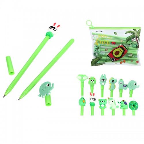 Ручка шар. CARTOON green СИНЯЯ 0,7мм корп.зеленый наб.20шт арт.M-5414-70 (1/72/144наб)
