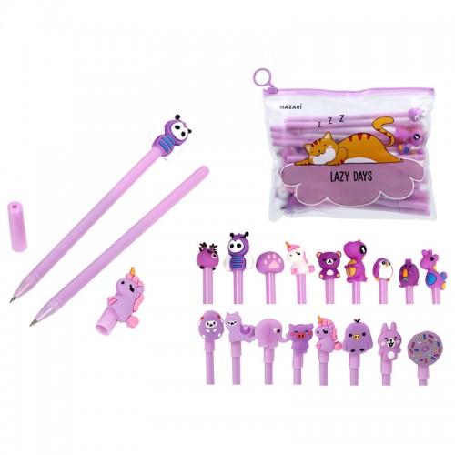 Ручка шар. CARTOON purple СИНЯЯ 0,7мм корп.фиолет. наб.20шт арт.M-5413-70 (1/72/144наб)