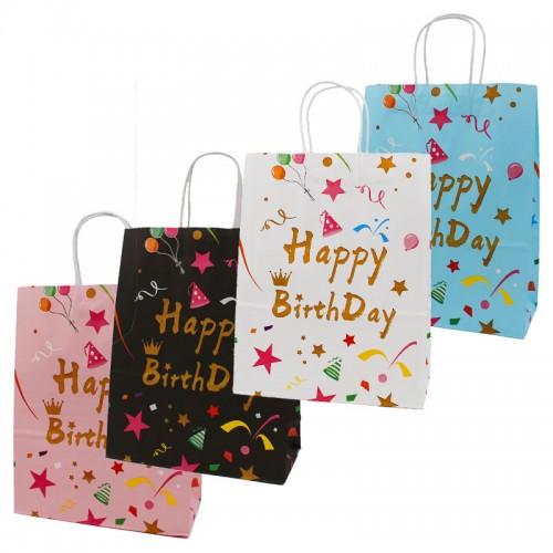 """Пакет крафт """"HAPPY BIRTHDAY"""" (33*26*12см) арт.6022 (1/12/720шт)"""