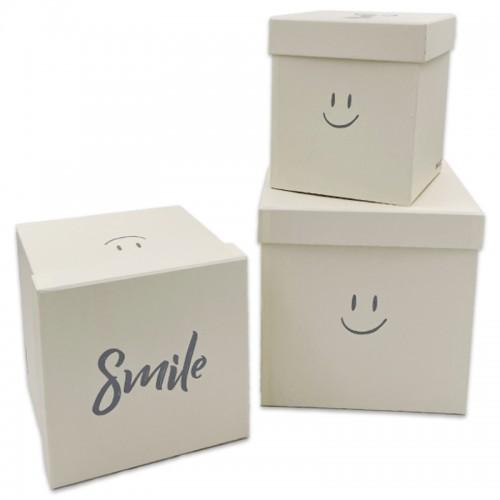 Коробки подар. 3шт SMILE (21*21*21;18*18*19;15*15*17,5) арт.11121 (1/18наб)
