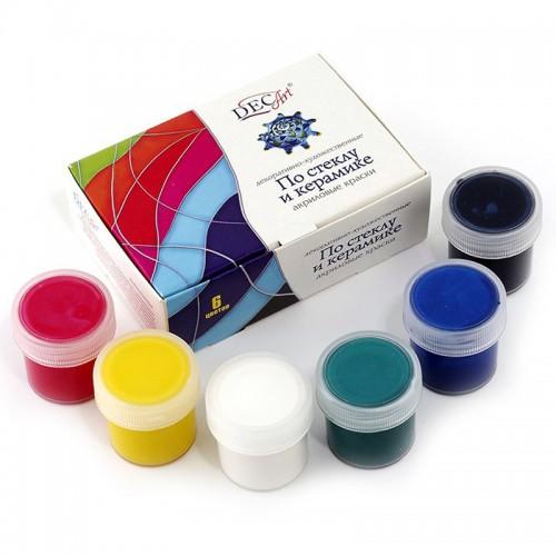 Акрил DEC ART по стеклу и керамике набор 6цв. 20мл. арт.29-6.20-50