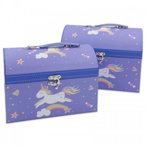 Коробка-сундук подар. 2шт ЕДИНОРОЖКА (23*15*17;21*13*15) арт.5152-2 (1/24наб)