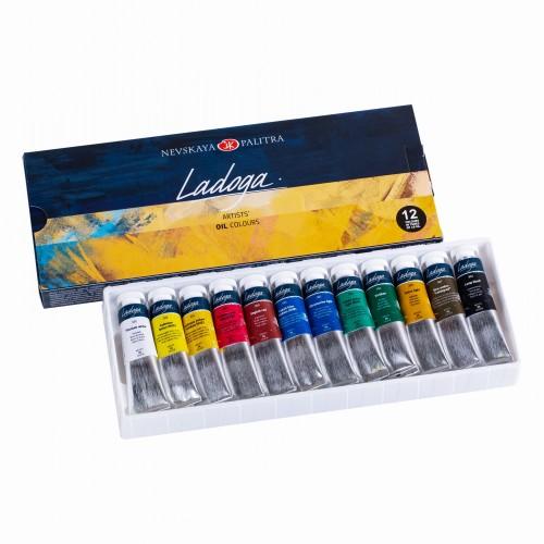 """Краска масляная """"Ладога"""" набор 12цв*18мл картон арт.1241004"""