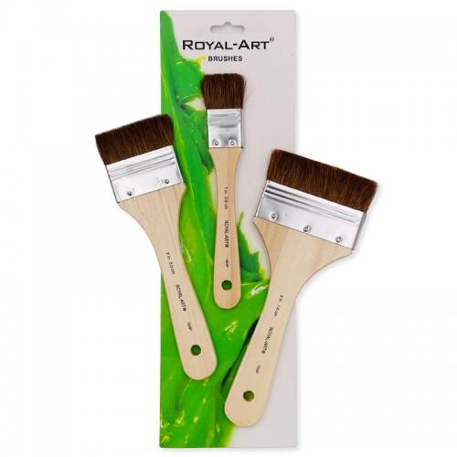 Кисти набор ПОНИ плоские 3шт (2.5см.5см.7.6см) ROYAL ART арт.RA1003Р (1/120наб)