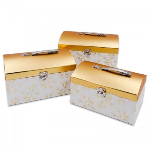 Коробка-сундук подар. 3шт ГЕРБАРИЙ НА БЕЛОМ (26*18*16,5;24*16*14,5;22*14*12,5) арт.W5134-2(1/18наб)