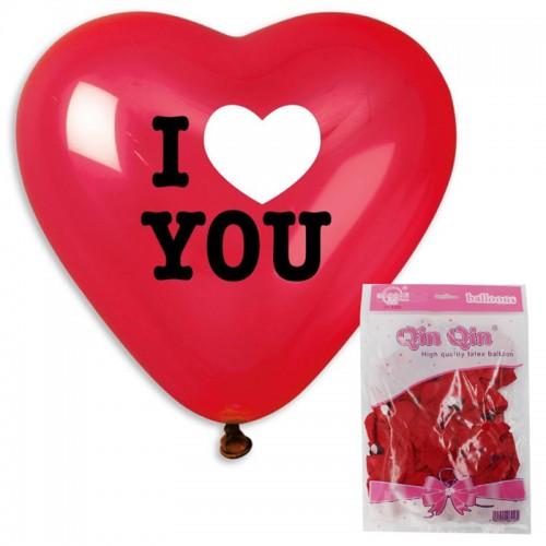 "Шар 12 ""СЕРДЦЕ КРАСНОЕ I LOVE YOU"" 2,8 гр.""QIN QIN"" арт.102632(50/10000шт.)"
