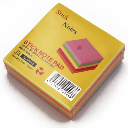 Блок c липк.слоем (76*76мм) неон АССОРТИ 5цв 250л арт.10665 (1/12/288шт)