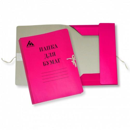 Папка на завязках А4 КРАСНАЯ картон мелов.0,6мм 320г/м2 816436 арт.PZ320MRED (1/1000шт)