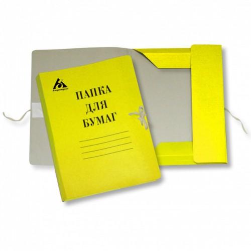 Папка на завязках А4 ЖЕЛТАЯ картон мелов.0,6мм 320г/м2 816437 арт.PZ320MYEL (1/1000шт)