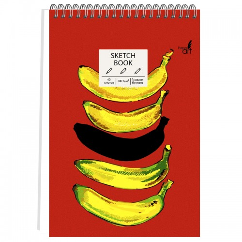 Скетчбук А5 спираль 40л 7БЦ б/лин. SKETCHBOOK BANANA BRAIN 100г/м2 арт.ТС5404829 (1/40шт)