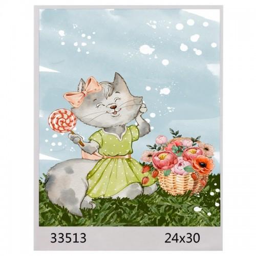 Картина по номерам 24*30 КОШЕЧКА арт.1590,33513  (1/100шт)
