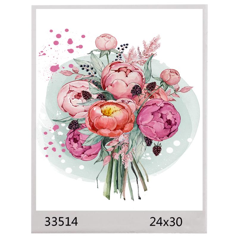 Картина по номерам 24*30 ПИОНЫ арт.1591,33514  (1/100шт)