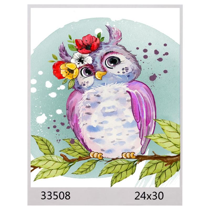 Картина по номерам 24*30 СОВУШКА арт.1594,33508 (1/100шт)